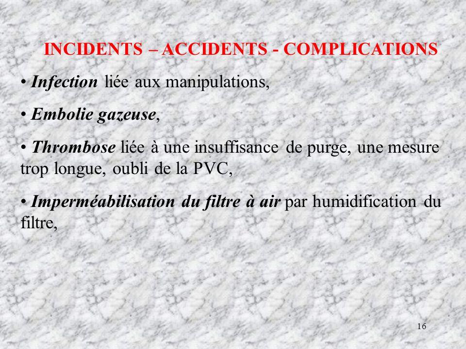 16 INCIDENTS – ACCIDENTS - COMPLICATIONS Infection liée aux manipulations, Embolie gazeuse, Thrombose liée à une insuffisance de purge, une mesure trop longue, oubli de la PVC, Imperméabilisation du filtre à air par humidification du filtre,