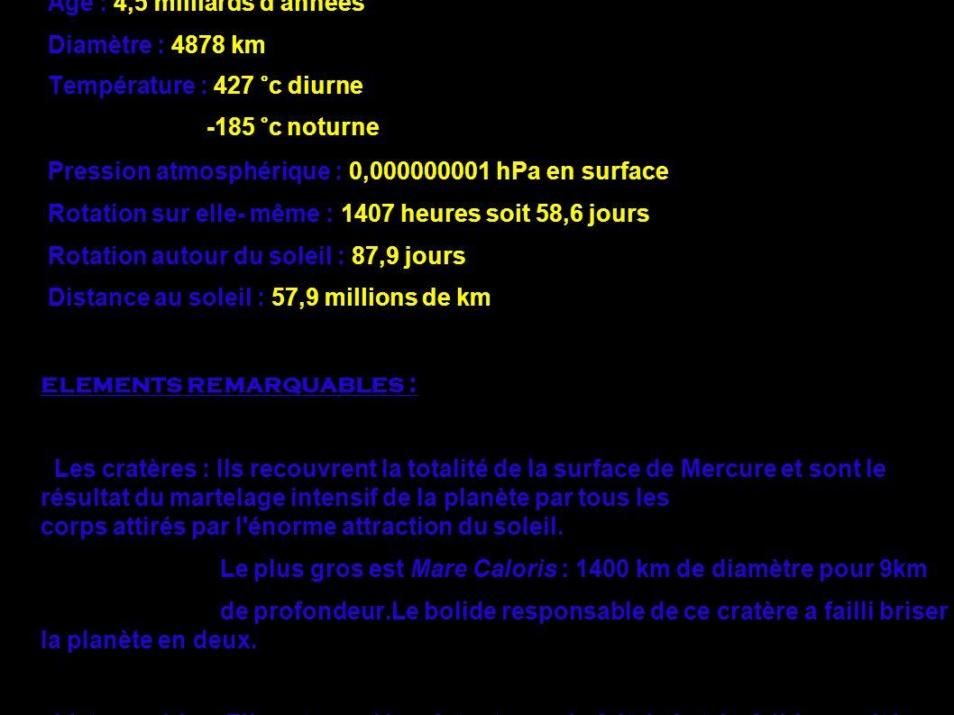Mercure en chiffre : Age : 4,5 milliards d'années Diamètre : 4878 km Température : 427 °c diurne -185 °c noturne Pression atmosphérique : 0,000000001
