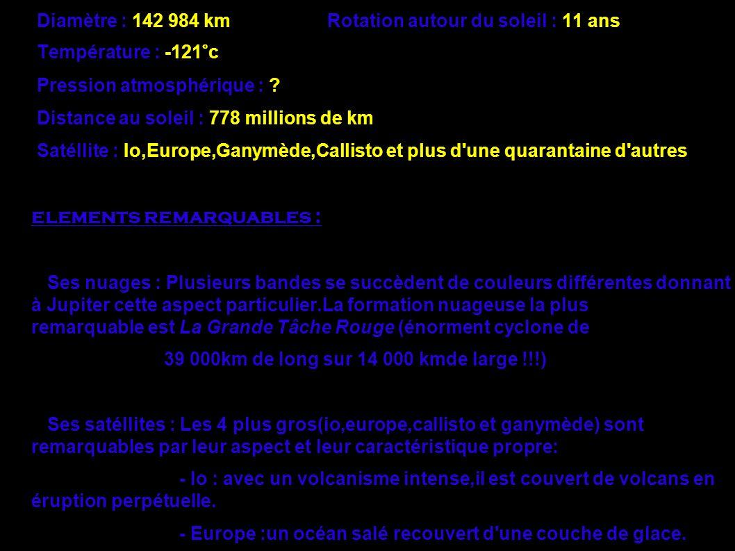Jupiter en chiffre : Age : 4,5 milliards d'années Rotation sur elle- même : 9,84 heures Diamètre : 142 984 km Rotation autour du soleil : 11 ans Tempé