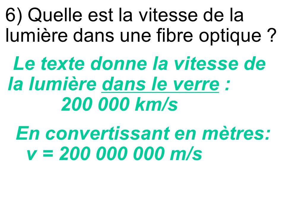 5) Une fibre optique est-elle transparente ? La fibre optique est transparente car le texte précise qu elle conduit la lumière. De plus, la fibre est