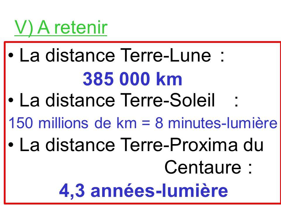 IV) Lannée-lumière Lannée-lumière, notée a.l. ou al est une distance. 1 a.l. = distance parcourue par la lumière pendant 1 année.
