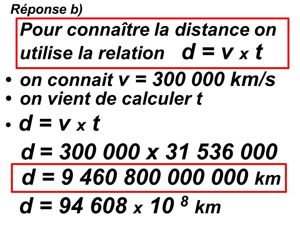 Réponse a) on cherche t = 1 an t = 31 536 000 secondes x 24 h x 60 min x 60 s jour t = 365