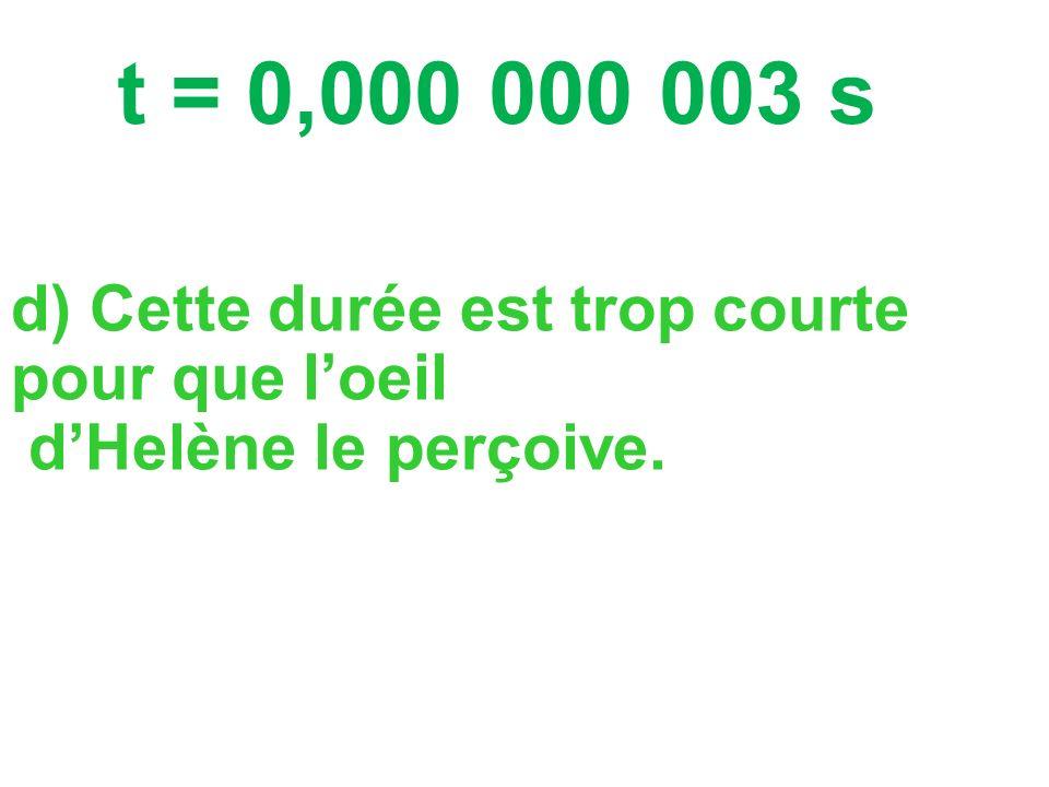 a) La lumière se propage dans lair qui est un milieu (=endroit) transparent. b) La lumière se propage à 300 000 km/s. t = d v c) La durée t est de : =