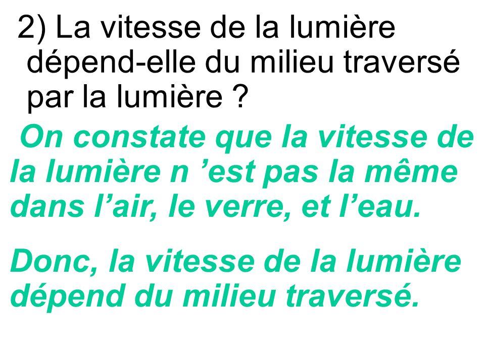 2) La vitesse de la lumière dépend-elle du milieu traversé par la lumière .