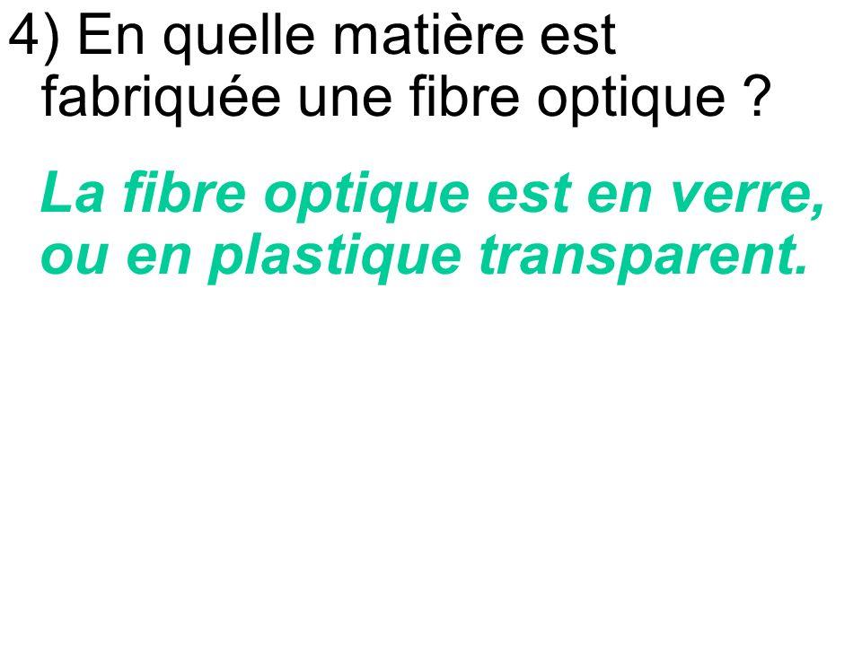 4) En quelle matière est fabriquée une fibre optique .