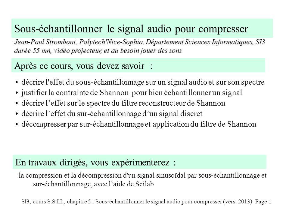 SI3, cours S.S.I.I., chapitre 5 : Sous-échantillonner le signal audio pour compresser (vers. 2013) Page 1 Sous-échantillonner le signal audio pour com