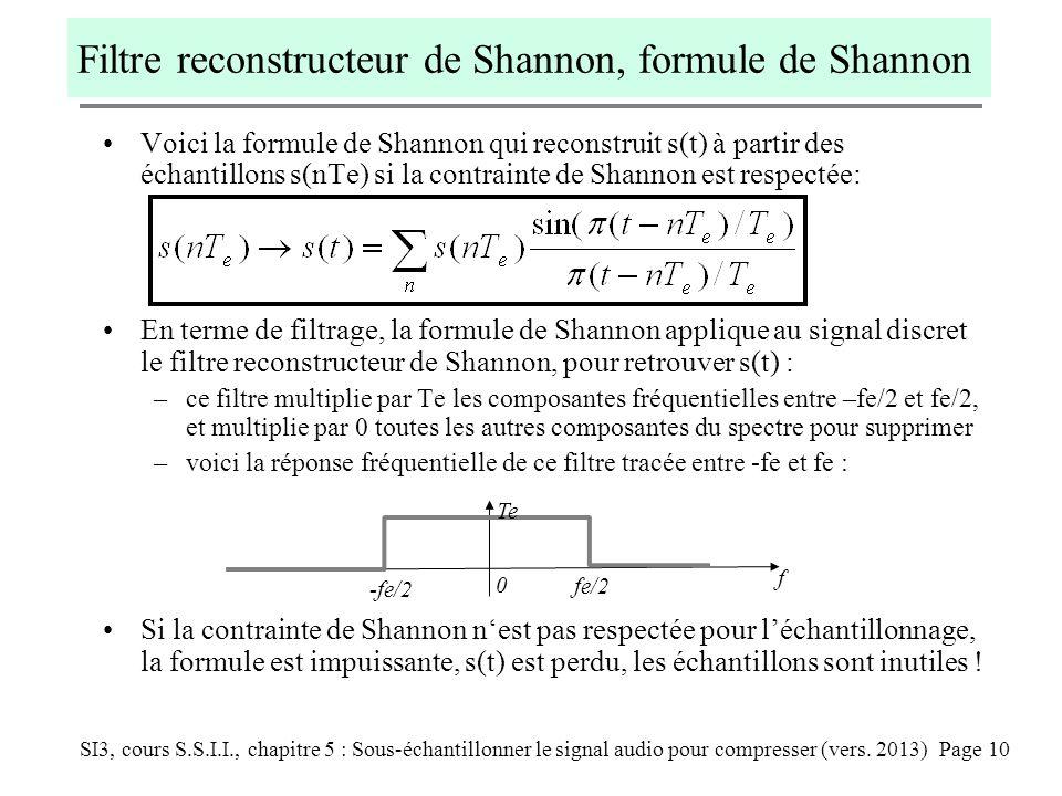 SI3, cours S.S.I.I., chapitre 5 : Sous-échantillonner le signal audio pour compresser (vers. 2013) Page 10 Filtre reconstructeur de Shannon, formule d