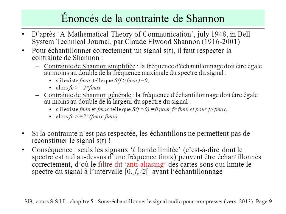 SI3, cours S.S.I.I., chapitre 5 : Sous-échantillonner le signal audio pour compresser (vers. 2013) Page 9 Énoncés de la contrainte de Shannon Daprès A