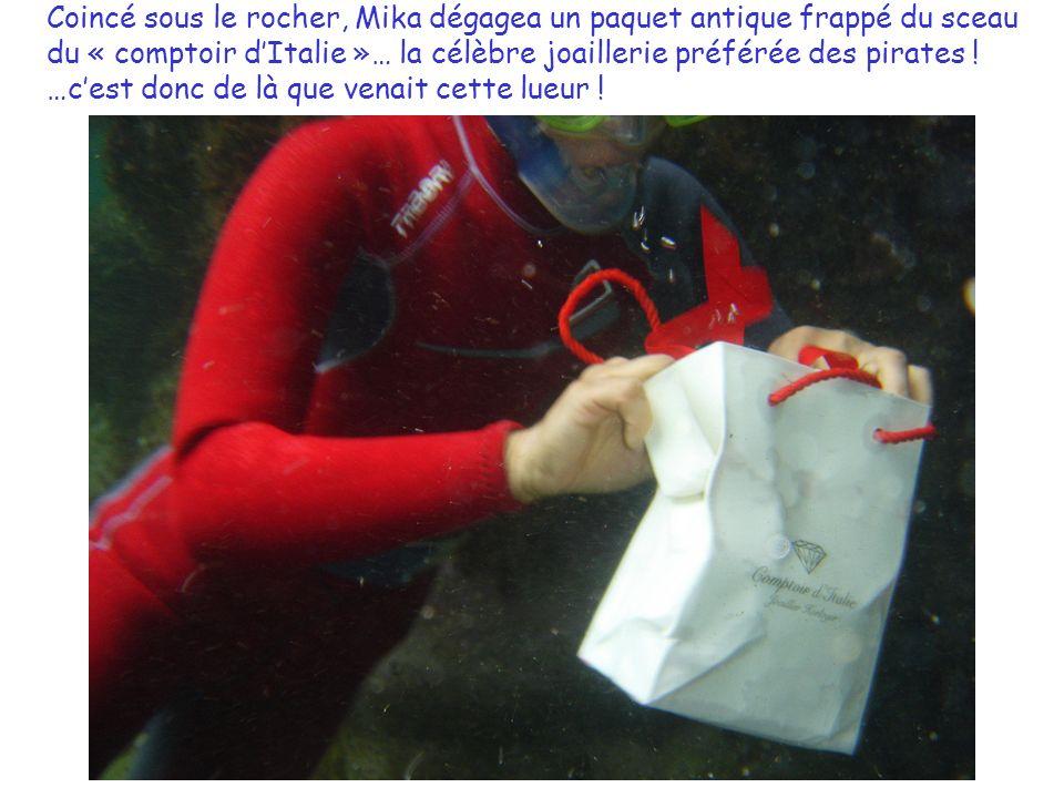 Coincé sous le rocher, Mika dégagea un paquet antique frappé du sceau du « comptoir dItalie »… la célèbre joaillerie préférée des pirates .