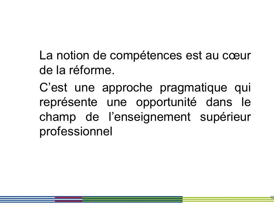 10 La notion de compétences est au cœur de la réforme. Cest une approche pragmatique qui représente une opportunité dans le champ de lenseignement sup