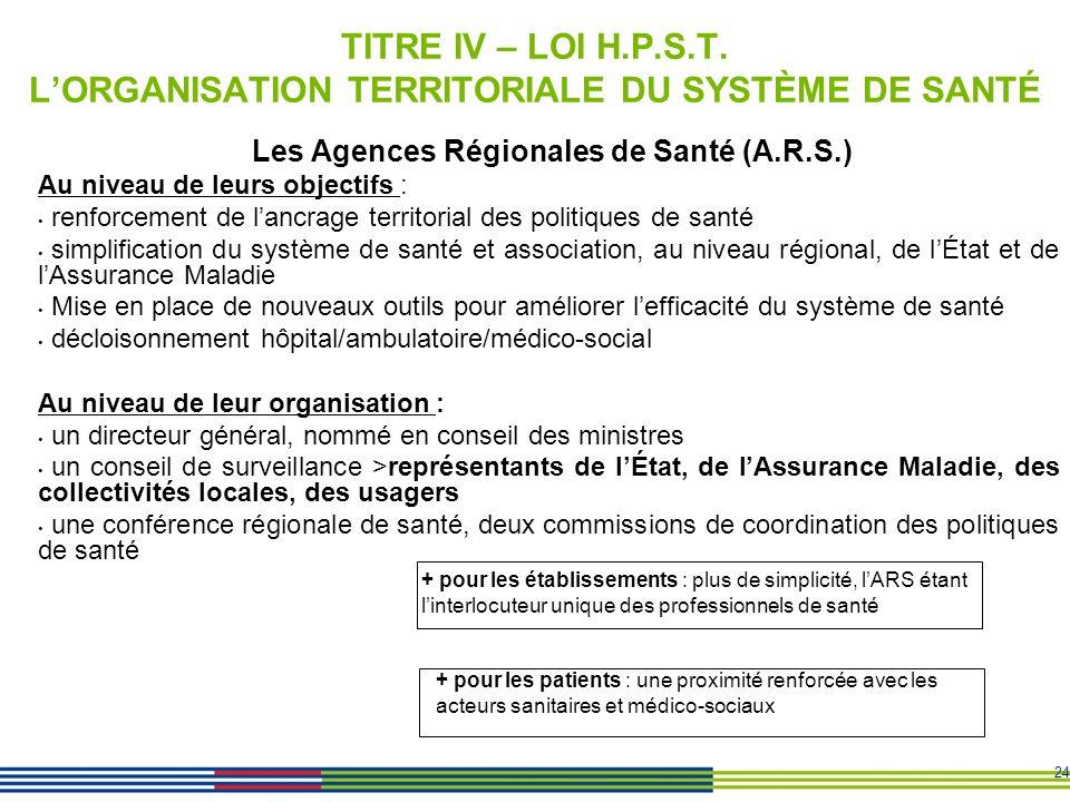 24 TITRE IV – LOI H.P.S.T. LORGANISATION TERRITORIALE DU SYSTÈME DE SANTÉ Les Agences Régionales de Santé (A.R.S.) Au niveau de leurs objectifs : renf