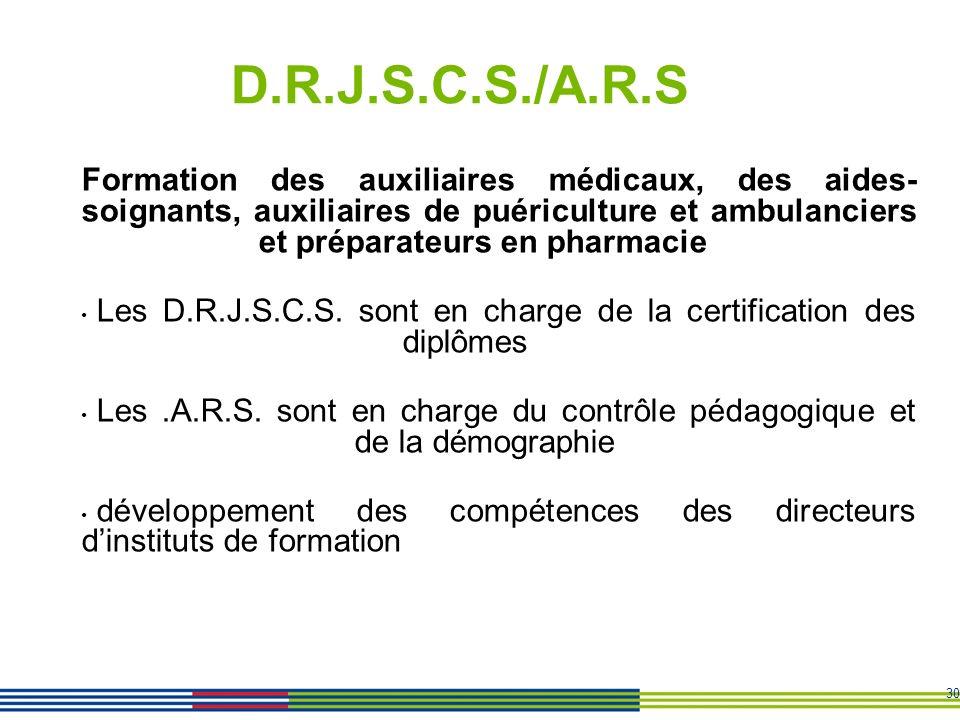 30 D.R.J.S.C.S./A.R.S Formation des auxiliaires médicaux, des aides- soignants, auxiliaires de puériculture et ambulanciers et préparateurs en pharmac