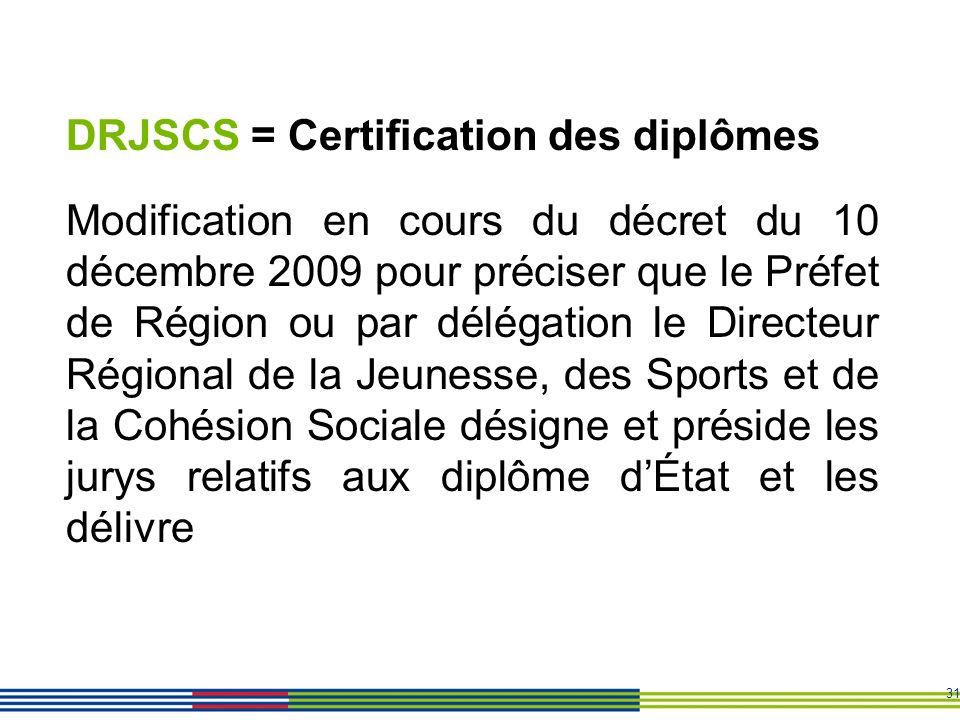 31 DRJSCS = Certification des diplômes Modification en cours du décret du 10 décembre 2009 pour préciser que le Préfet de Région ou par délégation le