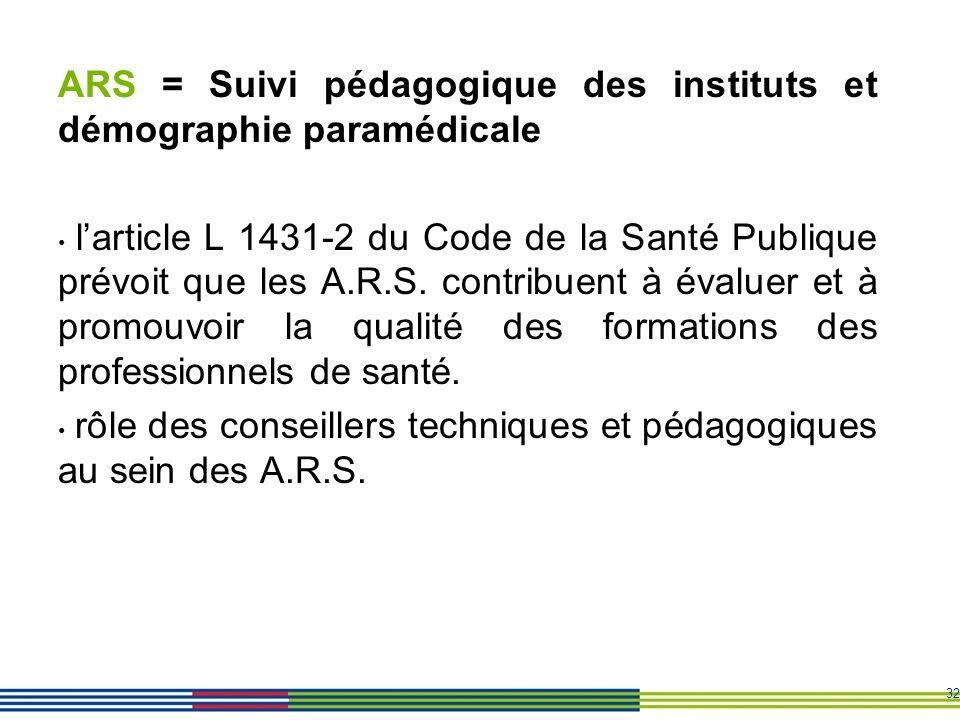 32 ARS = Suivi pédagogique des instituts et démographie paramédicale larticle L 1431-2 du Code de la Santé Publique prévoit que les A.R.S. contribuent