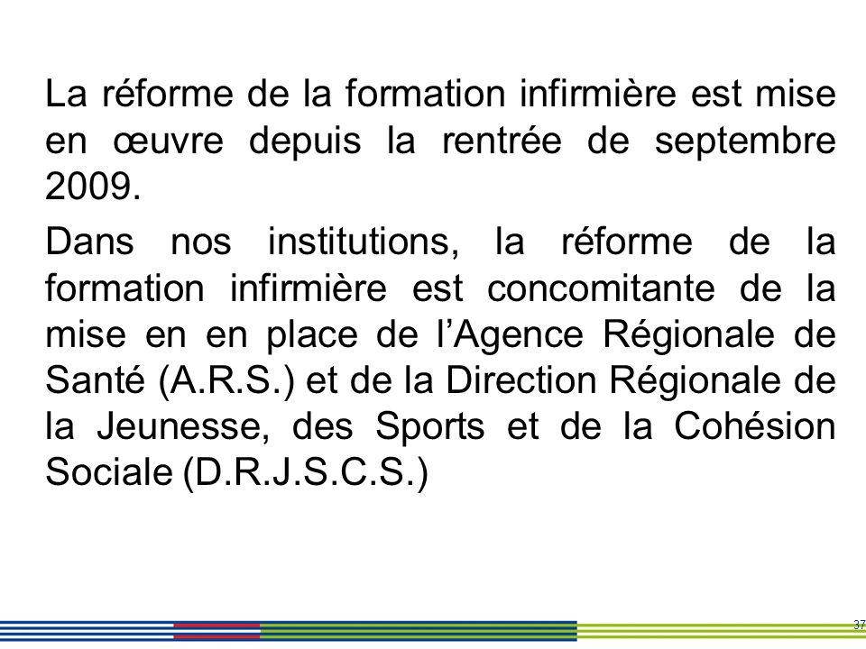 37 La réforme de la formation infirmière est mise en œuvre depuis la rentrée de septembre 2009. Dans nos institutions, la réforme de la formation infi