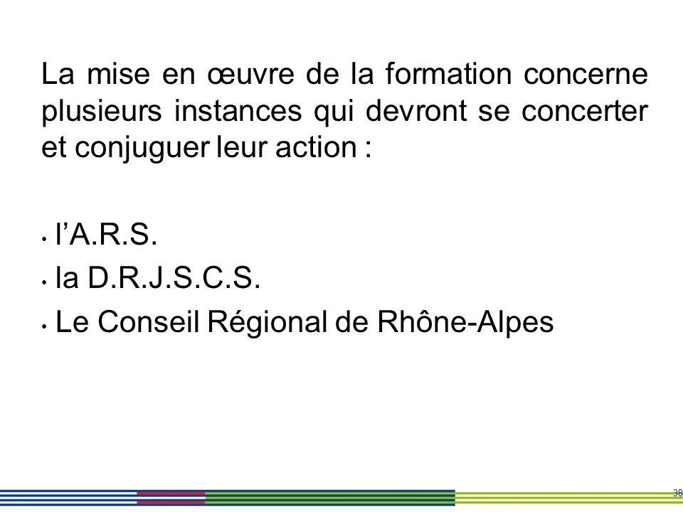 38 La mise en œuvre de la formation concerne plusieurs instances qui devront se concerter et conjuguer leur action : lA.R.S. la D.R.J.S.C.S. Le Consei