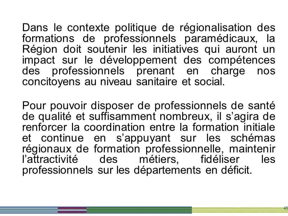 45 Dans le contexte politique de régionalisation des formations de professionnels paramédicaux, la Région doit soutenir les initiatives qui auront un