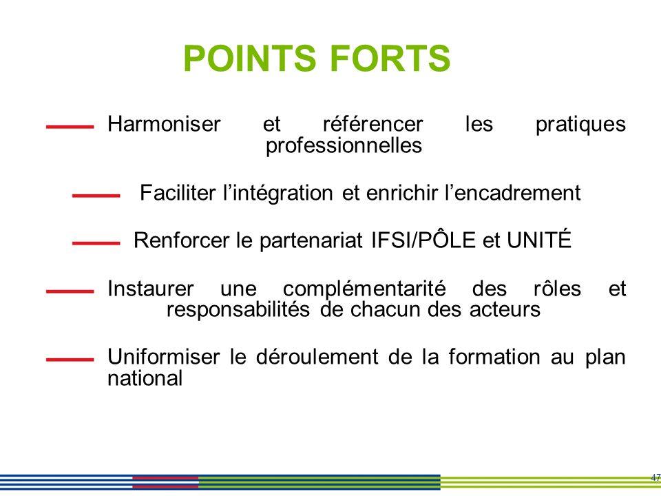 47 POINTS FORTS Harmoniser et référencer les pratiques professionnelles Faciliter lintégration et enrichir lencadrement Renforcer le partenariat IFSI/