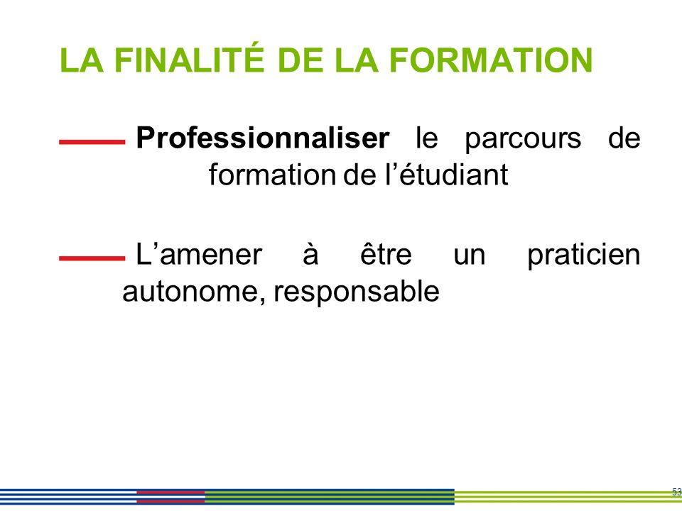 53 LA FINALITÉ DE LA FORMATION Professionnaliser le parcours de formation de létudiant Lamener à être un praticien autonome, responsable
