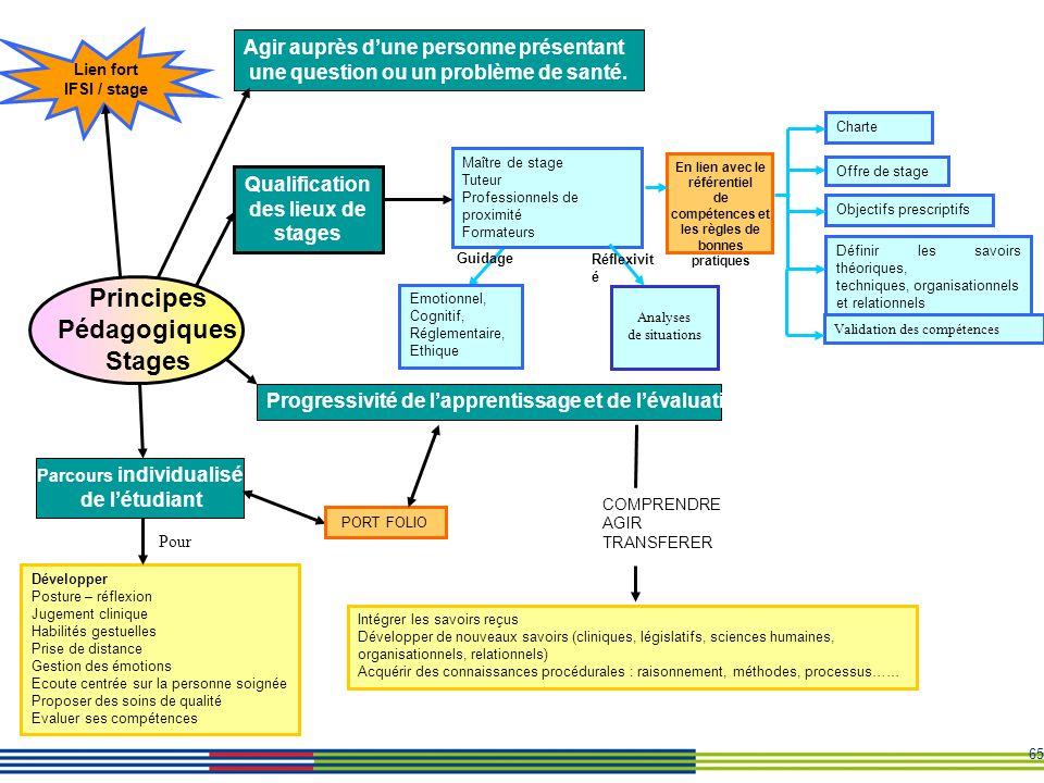 65 Intégrer les savoirs reçus Développer de nouveaux savoirs (cliniques, législatifs, sciences humaines, organisationnels, relationnels) Acquérir des