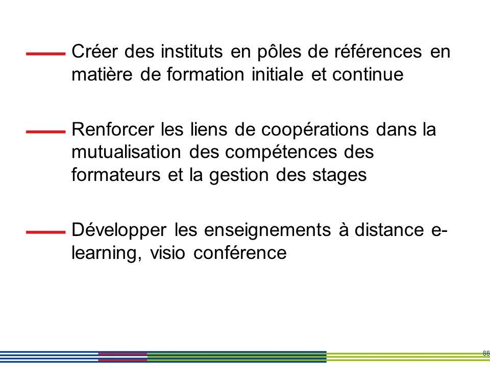 88 Créer des instituts en pôles de références en matière de formation initiale et continue Renforcer les liens de coopérations dans la mutualisation d