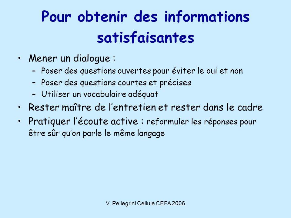 V. Pellegrini Cellule CEFA 2006 Pour obtenir des informations satisfaisantes Mener un dialogue : –Poser des questions ouvertes pour éviter le oui et n