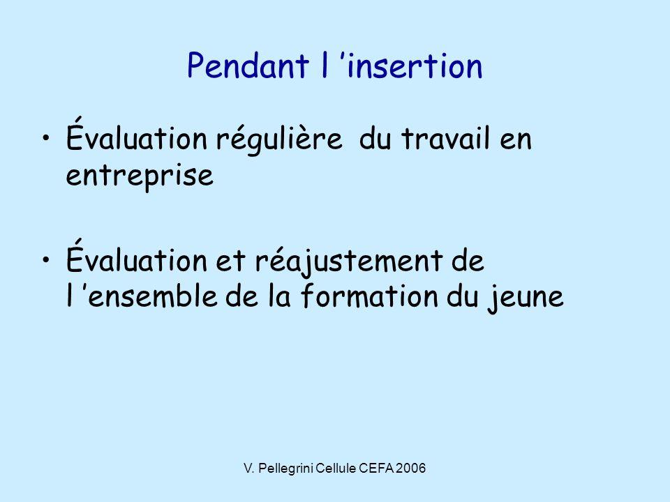 V. Pellegrini Cellule CEFA 2006 Pendant l insertion Évaluation régulière du travail en entreprise Évaluation et réajustement de l ensemble de la forma