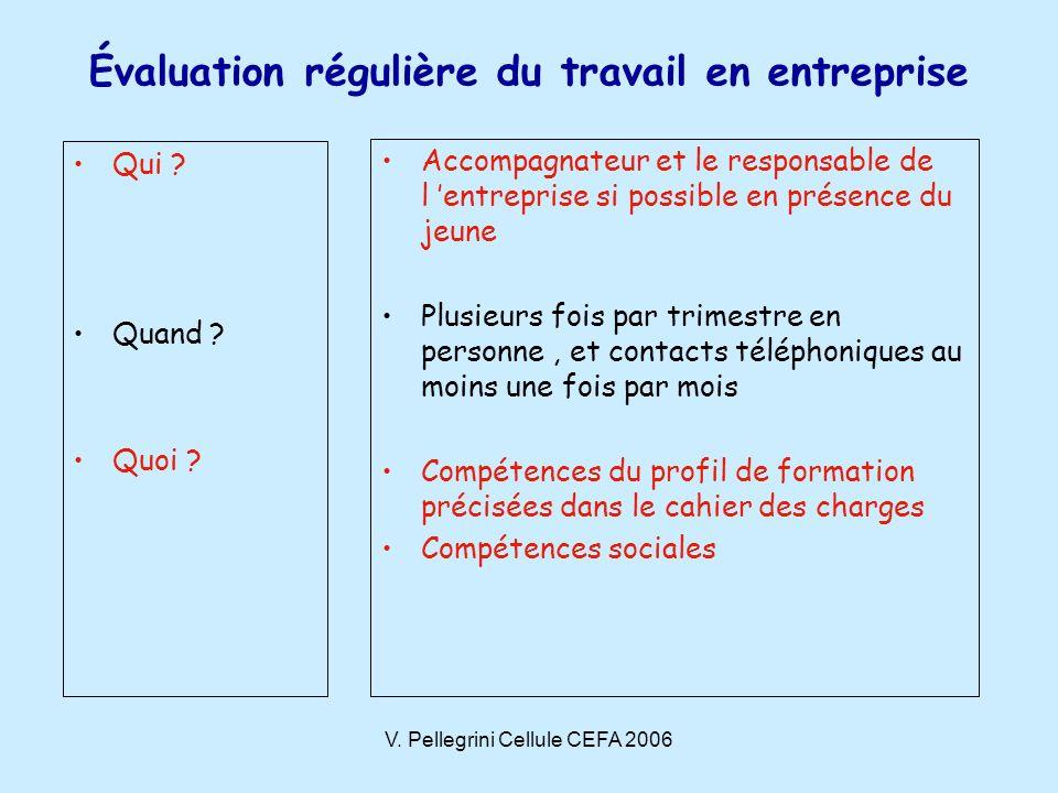 V. Pellegrini Cellule CEFA 2006 Évaluation régulière du travail en entreprise Qui .