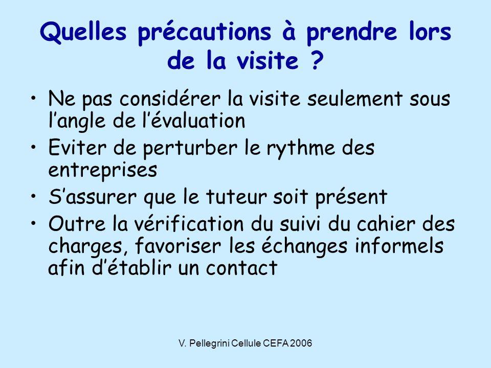 V.Pellegrini Cellule CEFA 2006 Quelles précautions à prendre lors de la visite .