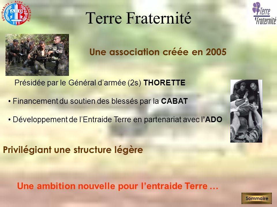 Terre Fraternité Une association créée en 2005 Sommaire Présidée par le Général darmée (2s) THORETTE Financement du soutien des blessés par la CABAT D