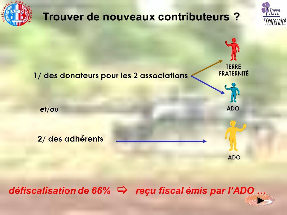 défiscalisation de 66% reçu fiscal émis par lADO … Trouver de nouveaux contributeurs ? ADO TERRE FRATERNITÉ ADO 1/ des donateurs pour les 2 associatio