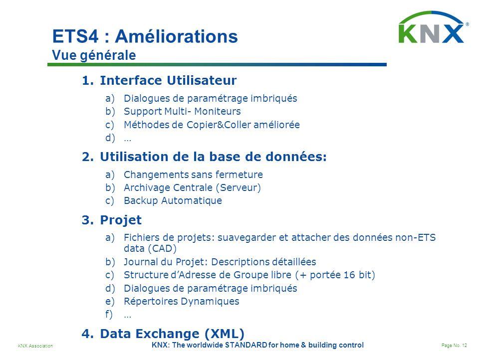 KNX Association Page No. 12 KNX: The worldwide STANDARD for home & building control ETS4 : Améliorations Vue générale 1.Interface Utilisateur a)Dialog