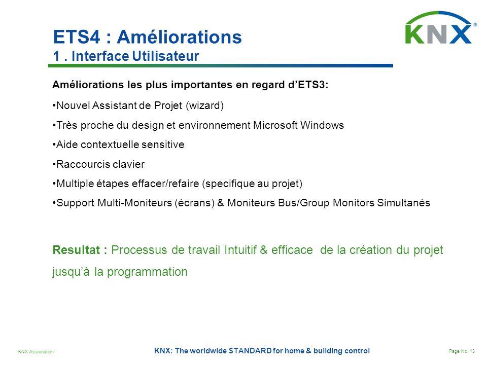 KNX Association Page No. 13 KNX: The worldwide STANDARD for home & building control ETS4 : Améliorations 1. Interface Utilisateur Améliorations les pl