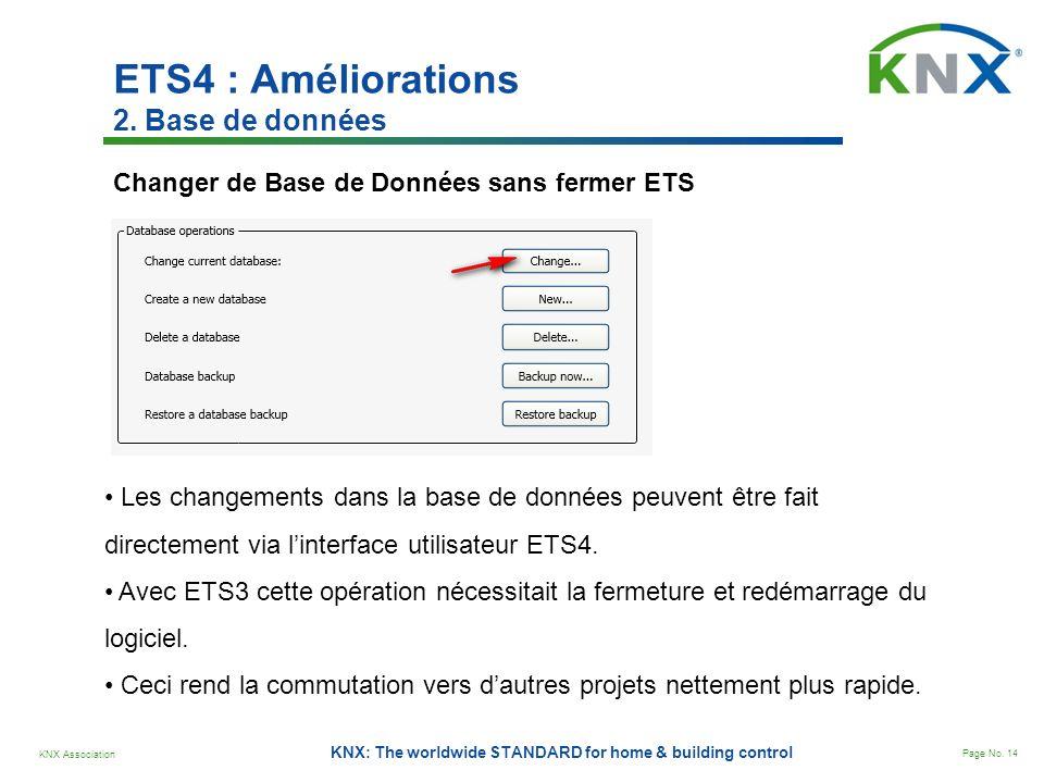 KNX Association Page No. 14 KNX: The worldwide STANDARD for home & building control ETS4 : Améliorations 2. Base de données Changer de Base de Données