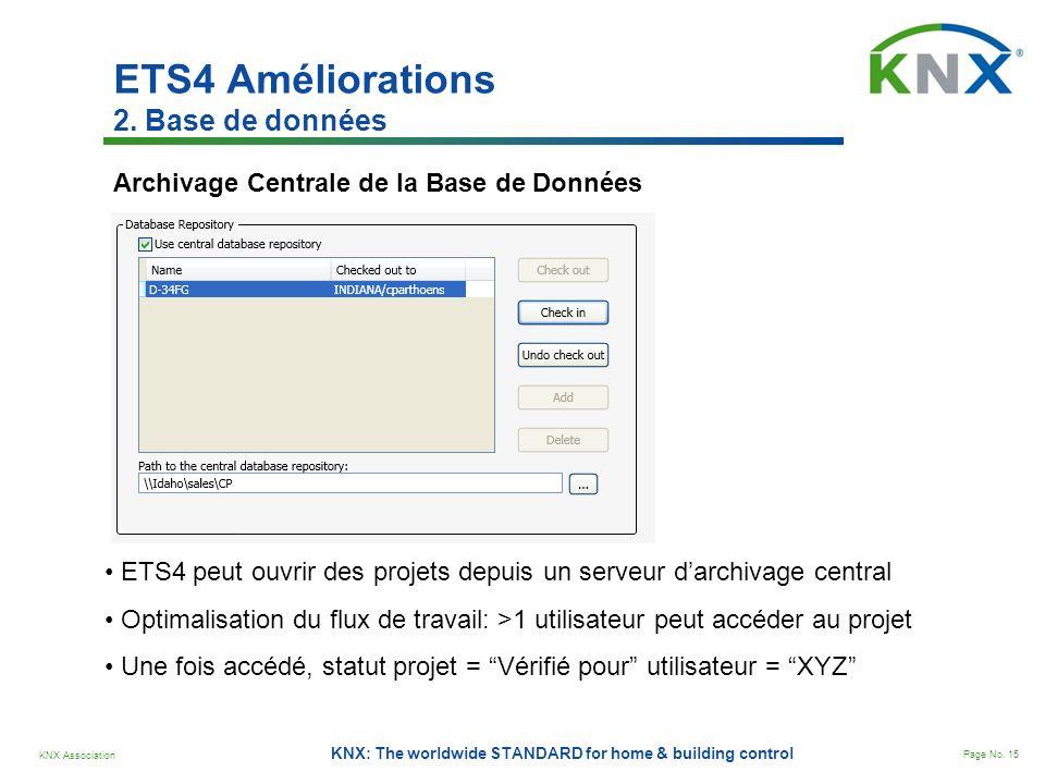 KNX Association Page No. 15 KNX: The worldwide STANDARD for home & building control Archivage Centrale de la Base de Données ETS4 peut ouvrir des proj