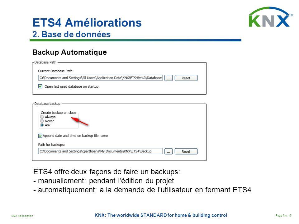 KNX Association Page No. 16 KNX: The worldwide STANDARD for home & building control Backup Automatique ETS4 offre deux façons de faire un backups: - m