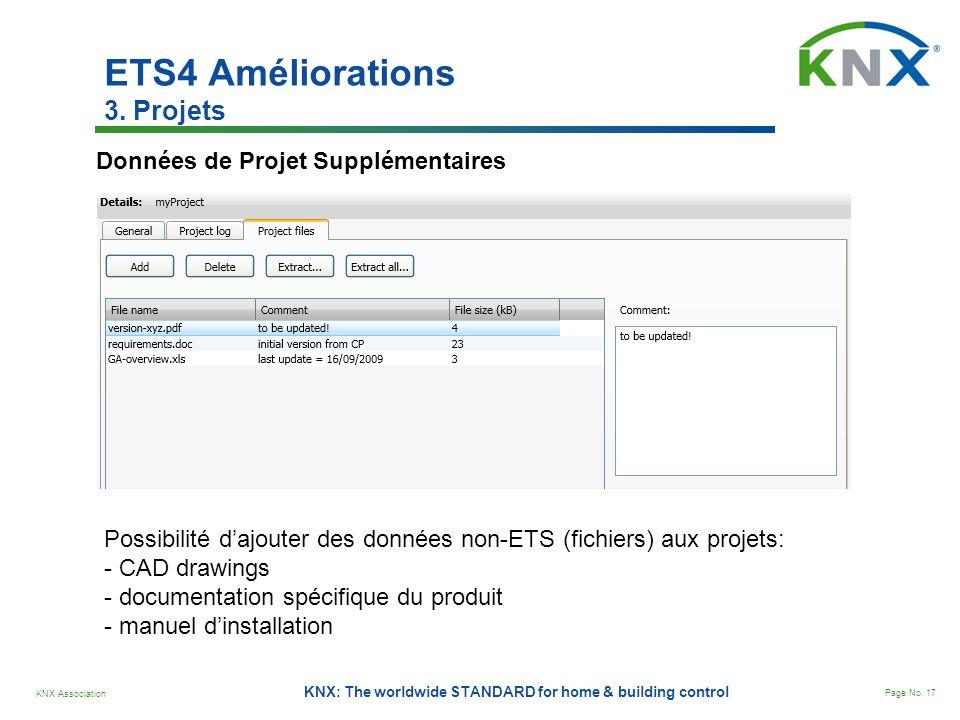 KNX Association Page No. 17 KNX: The worldwide STANDARD for home & building control ETS4 Améliorations 3. Projets Données de Projet Supplémentaires Po