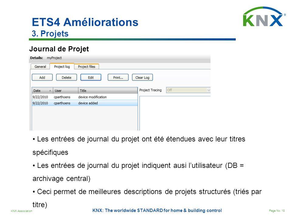 KNX Association Page No. 18 KNX: The worldwide STANDARD for home & building control Journal de Projet Les entrées de journal du projet ont été étendue
