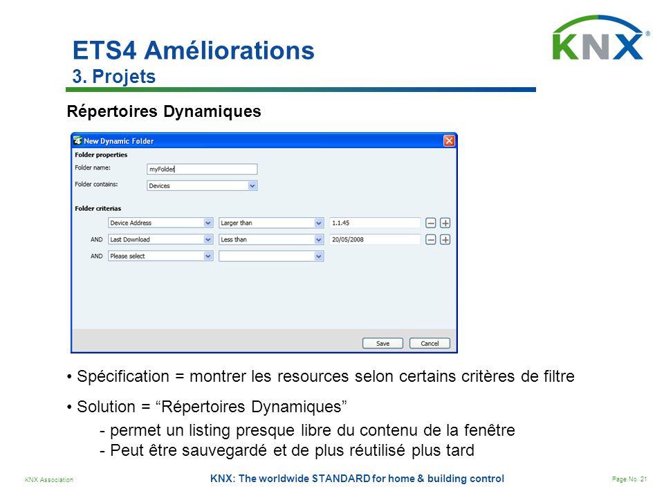 KNX Association Page No. 21 KNX: The worldwide STANDARD for home & building control Répertoires Dynamiques Spécification = montrer les resources selon