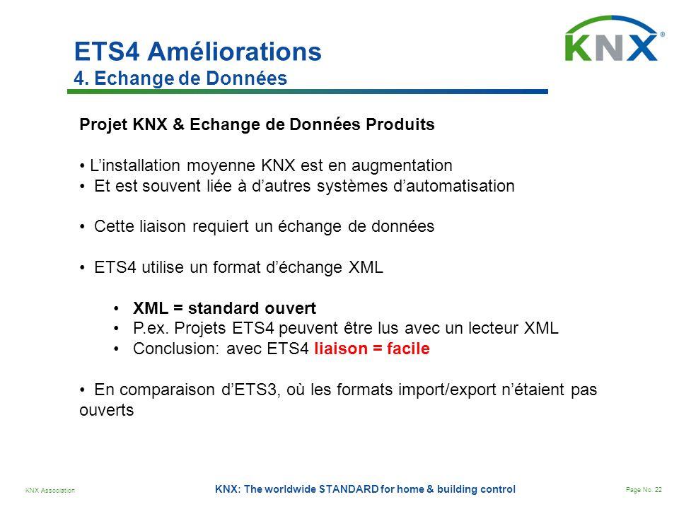 KNX Association Page No. 22 KNX: The worldwide STANDARD for home & building control ETS4 Améliorations 4. Echange de Données Projet KNX & Echange de D