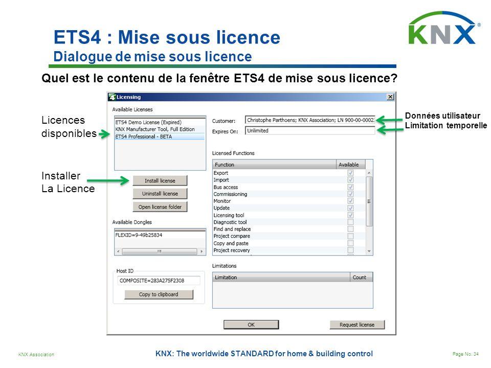 KNX Association Page No. 34 KNX: The worldwide STANDARD for home & building control ETS4 : Mise sous licence Dialogue de mise sous licence Quel est le