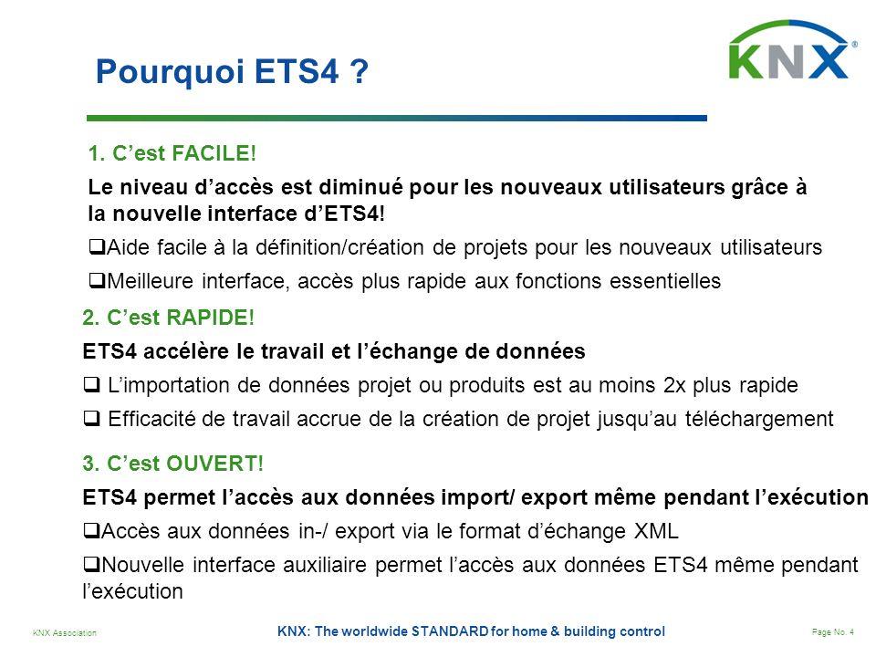 KNX Association Page No. 4 KNX: The worldwide STANDARD for home & building control Pourquoi ETS4 ? 3. Cest OUVERT! ETS4 permet laccès aux données impo