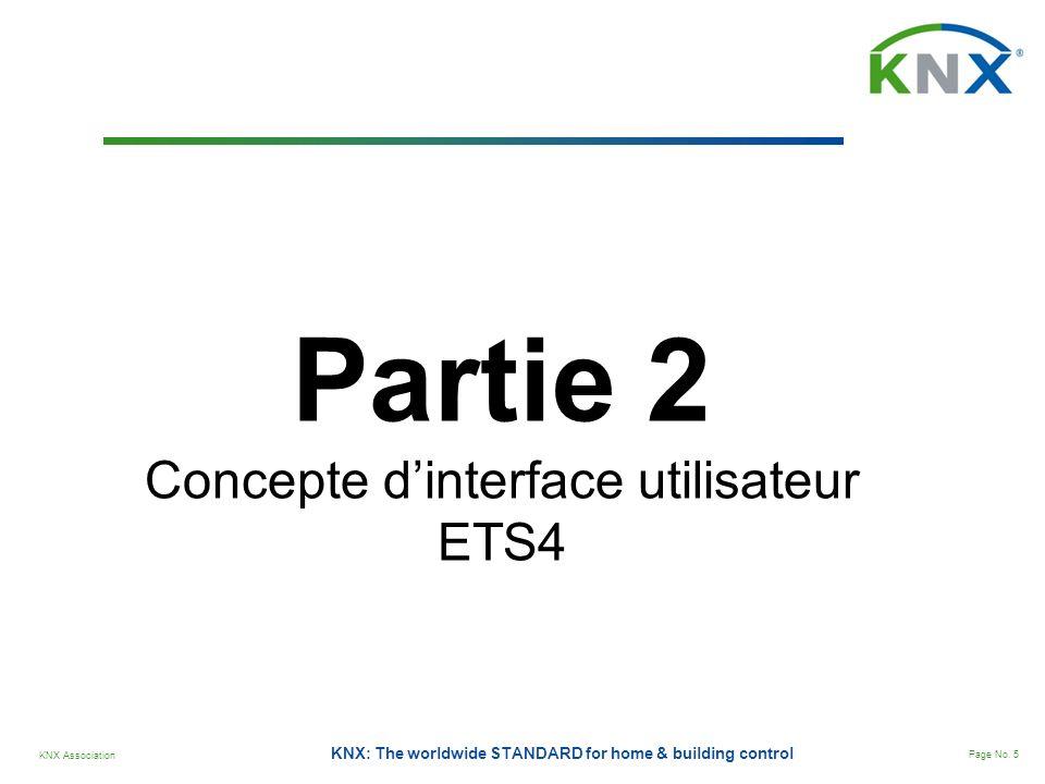 KNX Association Page No. 5 KNX: The worldwide STANDARD for home & building control Partie 2 Concepte dinterface utilisateur ETS4