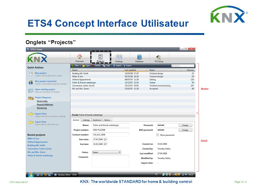 KNX Association Page No. 8 KNX: The worldwide STANDARD for home & building control ETS4 Concept Interface Utilisateur Onglets Projects