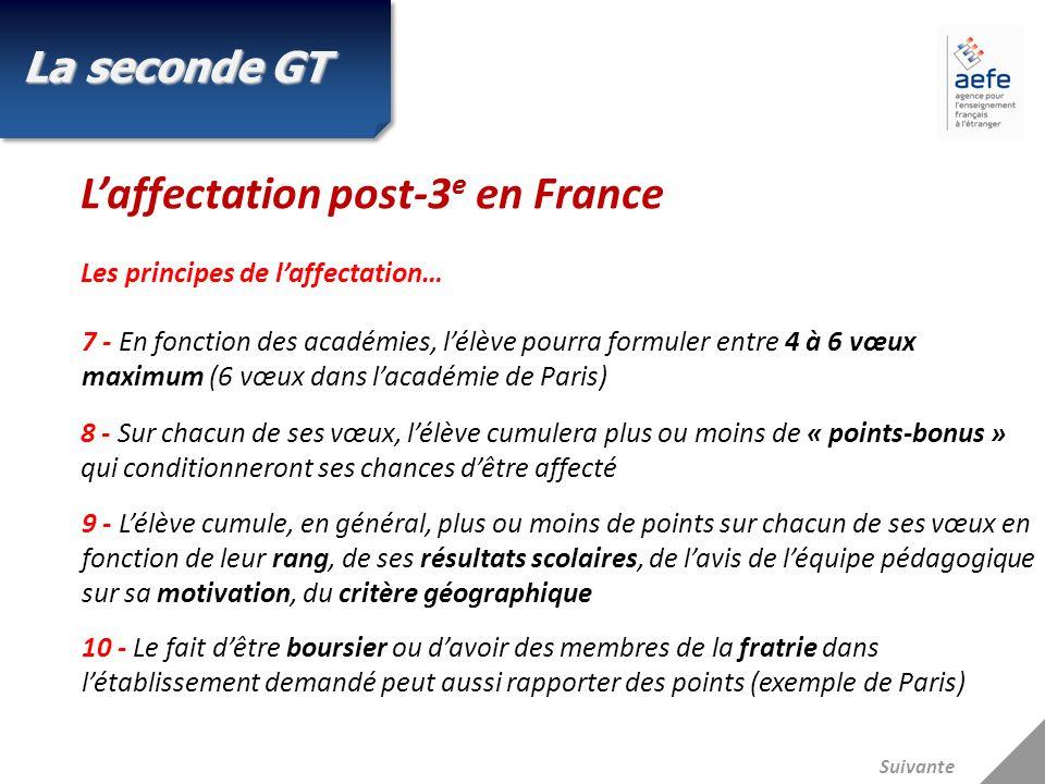 Suivante Laffectation post-3 e en France Les principes de laffectation… 7 - En fonction des académies, lélève pourra formuler entre 4 à 6 vœux maximum