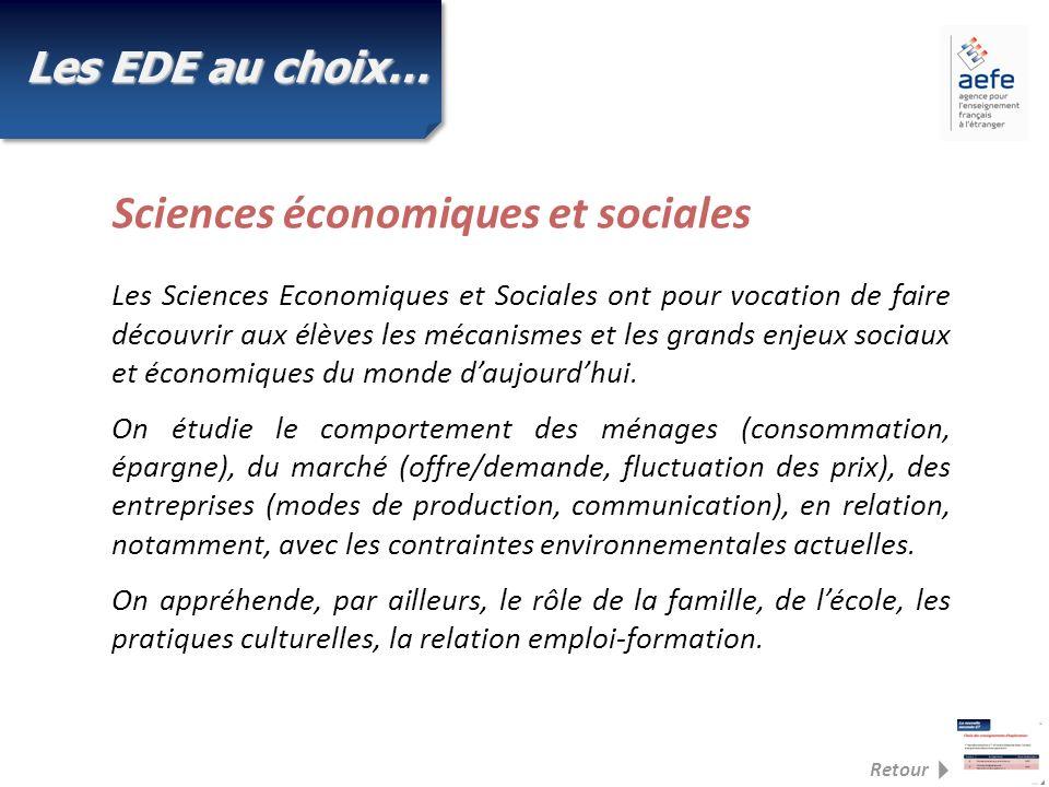 Les EDE au choix… Les Sciences Economiques et Sociales ont pour vocation de faire découvrir aux élèves les mécanismes et les grands enjeux sociaux et