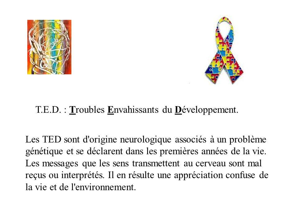 Les TED sont d'origine neurologique associés à un problème génétique et se déclarent dans les premières années de la vie. Les messages que les sens tr