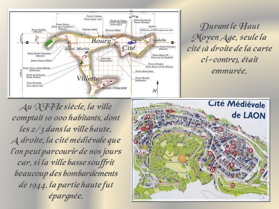 Durant le Haut Moyen Age, seule la cité (à droite de la carte ci-contre), était emmurée.