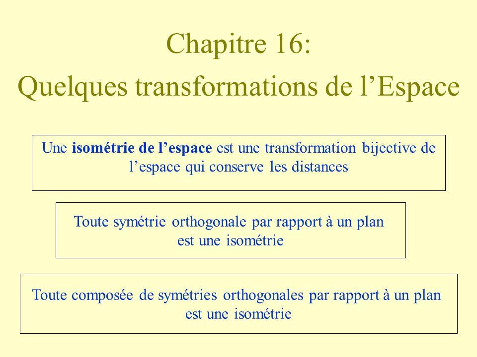 Chapitre 16: Quelques transformations de lEspace Une isométrie de lespace est une transformation bijective de lespace qui conserve les distances Toute symétrie orthogonale par rapport à un plan est une isométrie Toute composée de symétries orthogonales par rapport à un plan est une isométrie