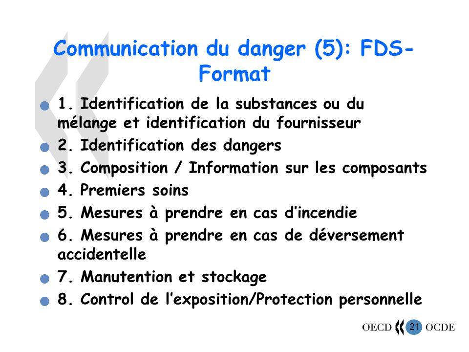 21 Communication du danger (5): FDS- Format 1.